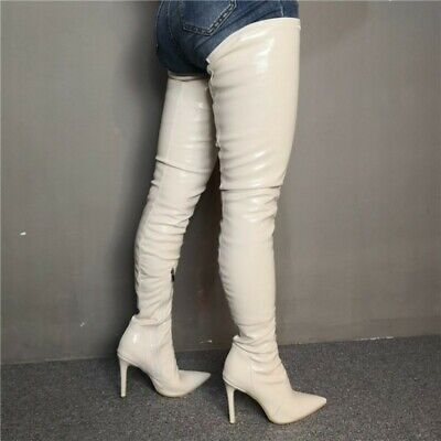 Sexy Lady Womens Stilettos Heel Zip Pointy Toe Over Knee Thigh High Boots Shoes