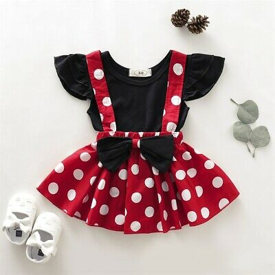 2PCS Toddler Kid Baby Girls Tops T-shirt+Bowknot Suspender Skirt Outfit Clothes