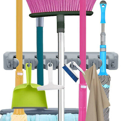 Wall Mounted Mop Brush Broom Holder Hanger Organizer Storage Kitchen Bathroom