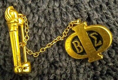 Vintage BETA SIGMA PHI SORORITY & TORCH LAPEL PIN Nice Cond w/ FREE SHIPPING