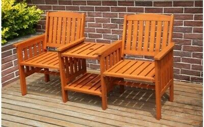 Outdoor 2 Seater Hardwood Bench Wooden Loveseat Chair Garden Patio Companion Set