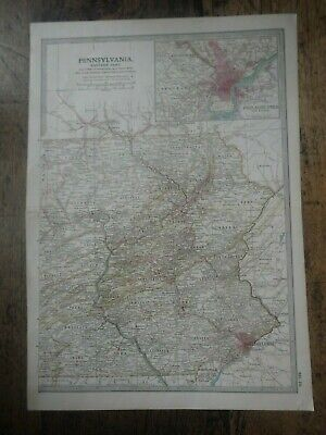 Original 1902 Map of Pennsylvania eastern part by The Century Company.
