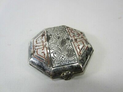 Antique Fiancee Silverplated Ladies Powder Compact