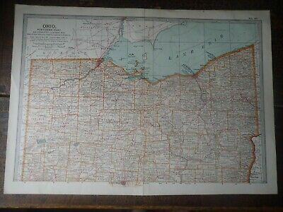 Original 1902 Map of Ohio northern part by The Century Company. U.S.A