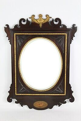 Antique Edwardian Chippendale Mahogany Fretwork Wall Mirror -Vauxhall Pier Glass