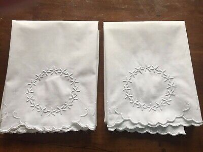 Pair of Vintage Embroidered Pillowcases