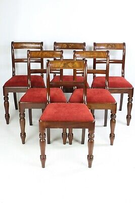 Set 6 Antique Regency Mahogany Dining Chairs - Six Victorian Georgian Chairs