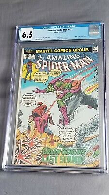 Amazing Spider-Man 122 (CGC 6.5) Death of Green Goblin - OW pages 1973 spiderman
