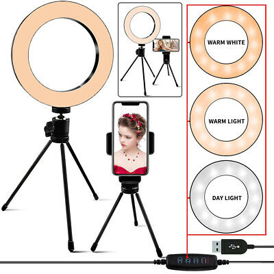 LED Selfie Ring Light Studio Photo Video Dimmable Lamp Phone Camera Triopd Stand