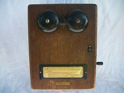 Vintage WESTERN ELECTRIC Telephone Crank Handle Wood Ringer Box w/ Working Bells
