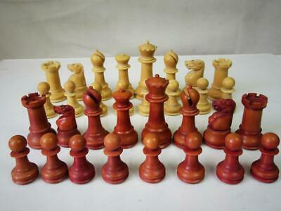 ANTIQUE ENGLISH CHESS SET  VEGETABLE IVORY Q 76 mm  NO BOARD  FOR RESTORATION