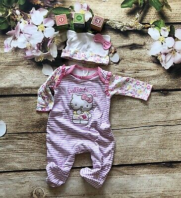 d4a8f88c0 Baby girls Boots Miniclub Hello Kitty Pink Wife Babygrow Sleepsuit Hat BNWT
