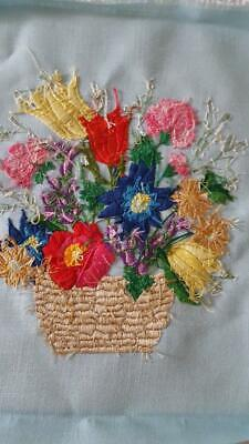 """15X17.5"""" Vintage Finished Crewel Floral Basket Embroidery, Hand Crafted, Brite"""