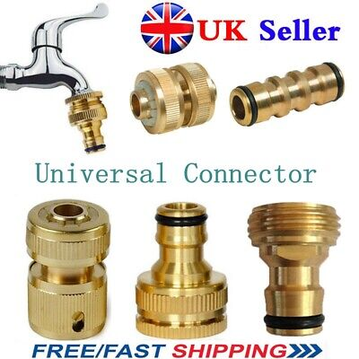 UK Universal Garden Watering Water Hose Pipe Tap Brass Connector Adaptor Fitting