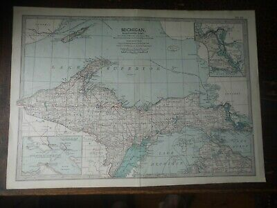 Original 1902 Map of Michigan northern part  by The Century Company. U.S.A