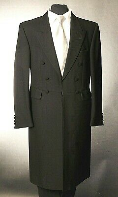 "Men's Black 100% Wool Frock Coat Wedding Funeral Steam Punk Sizes 38"" 40"" Chest"