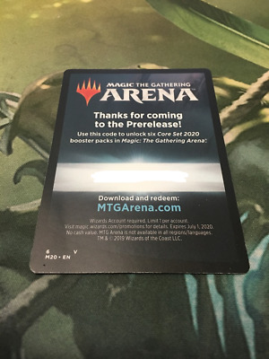 Core Set 2020 Arena Redemption Code Mtg Magic 6 Free Booster Packs EMAIL ONLY!!!