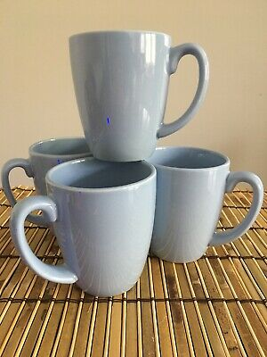 Set of 4 Corelle Coordinates Stoneware Light Blue Mugs Excellent Conditions