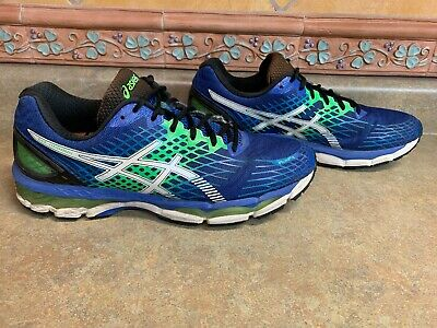 Asics Fluid Ride track shoes, blue and green running shoes