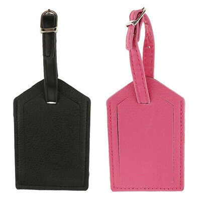 MagiDeal 2pack Luggage Tag Travel Leather Tags Suitcase Tags Name Card Tags