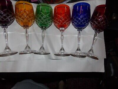 Hand Cut Barbara Set of 6  Glasses Red Blue Yellow Green Orange Crystal Stems