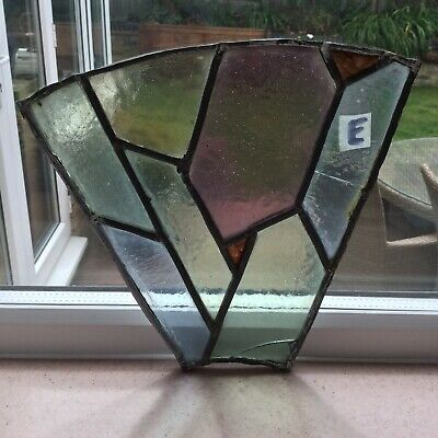 Antique Stained Glass Window Panel Leaded Victorian Small Spare Repair Salvage