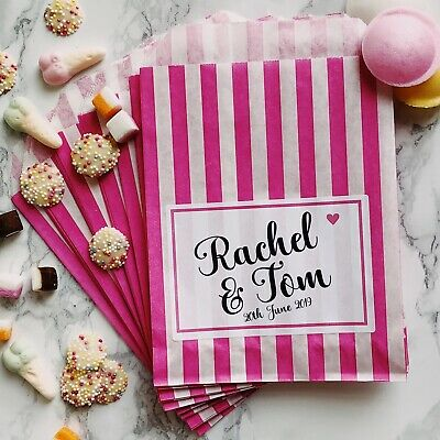 Personalised Pick N Mix Sweet Bags Wedding Donut Favour Gift Candy Cart Buffet