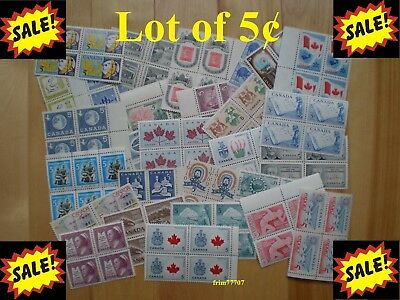 Lot of 100 x 5¢ Vintage Stamps Mint with FULL Gum - 99¢ postage Canada