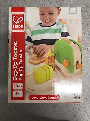 Hape Pop Up Toaster Wooden Play Kitchen Set 10 PCS Ages 3Y+