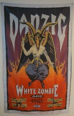 DANZIG AND WHITE ZOMBIES Concert Tour Poster Fabric Wall Tapestry 3x5 Feet