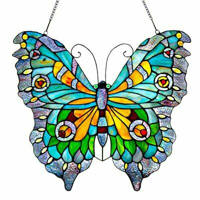 Stained Glass Blue & Yellow Swallowtail Butterfly Window Panel 21.75W x 20.5H in