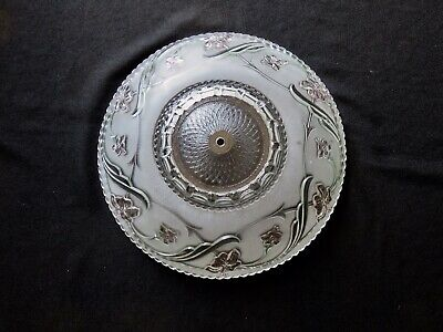 """Art Deco Floral Glass Ceiling Light Cover Shade Round 16 1/4"""" High Relief"""