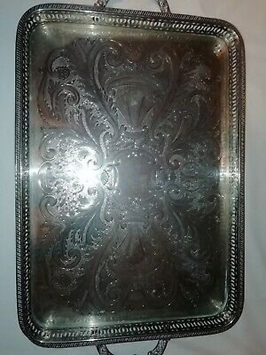 """21"""" Repousse Silver Plated Footed Gallery Serving Tray By Falstaff C1930"""