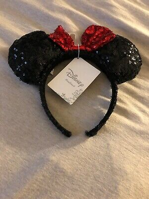 Disney Parks Authentic Minnie Mouse Ears Headband Black Red Bow Sequin NWT