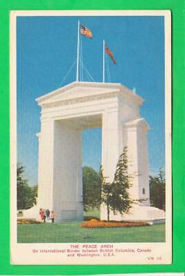 Postcard ~ The peace arch international border between British Columbia in Washi