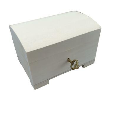 Wooden Jewellery Small Chest Closed For Key, Unpainted