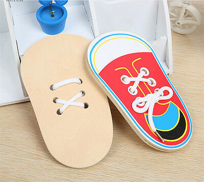 Wooden Lacing Shoe Learn to Tie Laces Educational Motor Skills kids Children SE