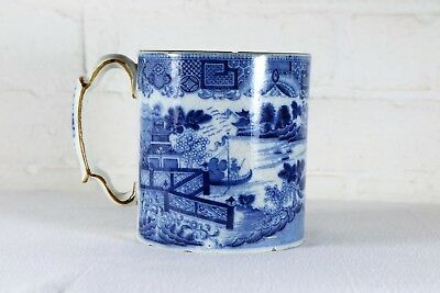 A Very Large Antique Chinese 19th Century Blue & White Porcelain Tankard