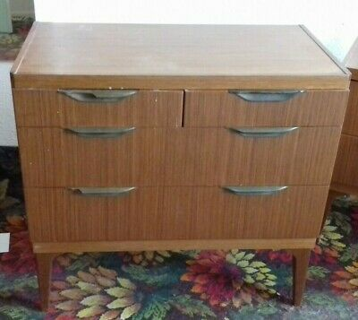 Remploy Mid Century Teak Chest Of Drawers with Bakelite Handles