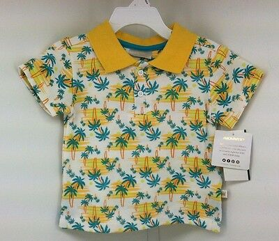 Rosie Pope Baby Printed Polo Shirt Yellow Tropical Baby boy Size 12M 12 Mos