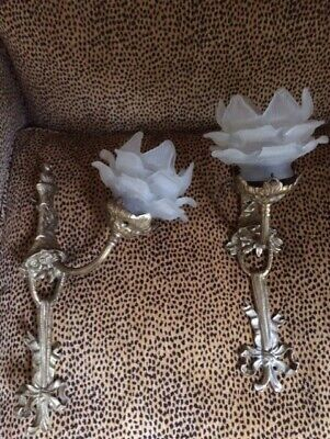 Pair French Antique Brass Art Nouveau Deco Wall Scone Light Glass Flower Shade