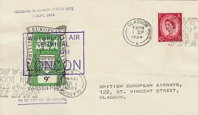 GB : BEA AIRWAYS LETTER SERVICE, AT INCREASED RATE 9d, LONDON TO GLASGOW (1954)