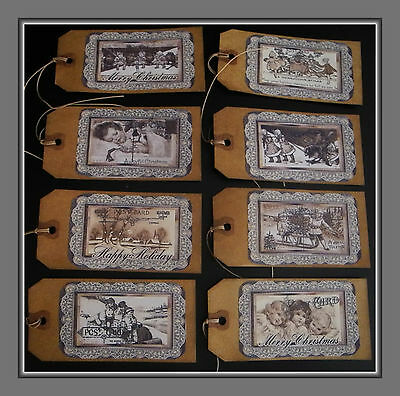 """Set of 8 Large 3.5/"""" Vintage Victorian VALENTINE GIFT or HANG TAGS with string"""