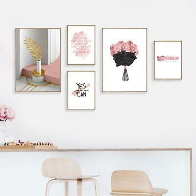 Pink Flower Rose Wall Painting Vintage Poster Canvas Wall Art Canvas Prints