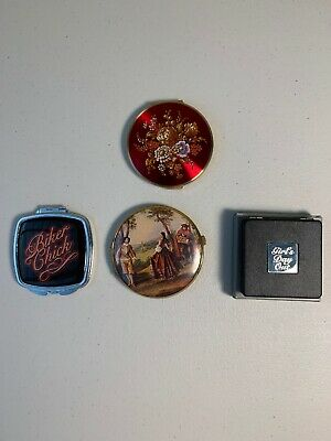 Lot Of 4 Vintage Enamel Powder Compact & Double Mirror/ Nice/ Free Shipping #102