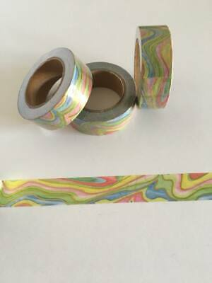 Colourful waves print washi tape, rainbow, swirl, Pastel rainbow,Cute Washi Tape