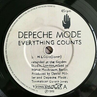 DEPECHE MODE - EVERYTHING COUNTS 7 Inch Vinyl Record Mute 1983 Bong 3 Exc