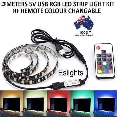 3M LED Strip Light 5050 RGB USB MultiColor Powered Mini Controller for HDTV AUS