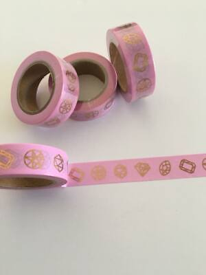 Pink and gold foil washi tape, diamond print, gem print, pink Washi Tape
