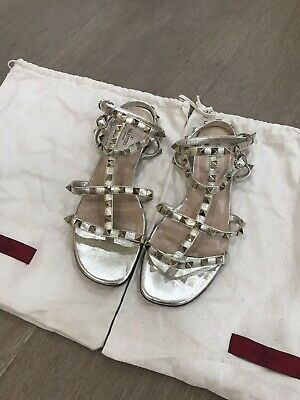 2e13509fd AUTH VALENTINO ROCKSTUD Platinum Bronze Leather Caged Sandals Sz 38.5  PREOWNED